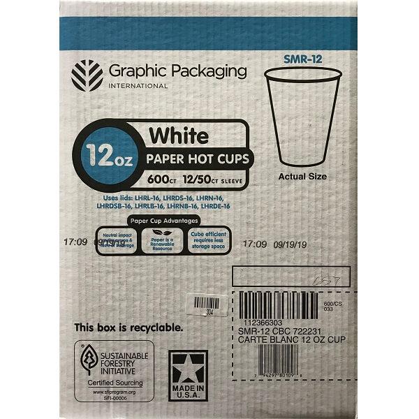 12oz Hot Cup Carte Blanc SMR12 thumbnail