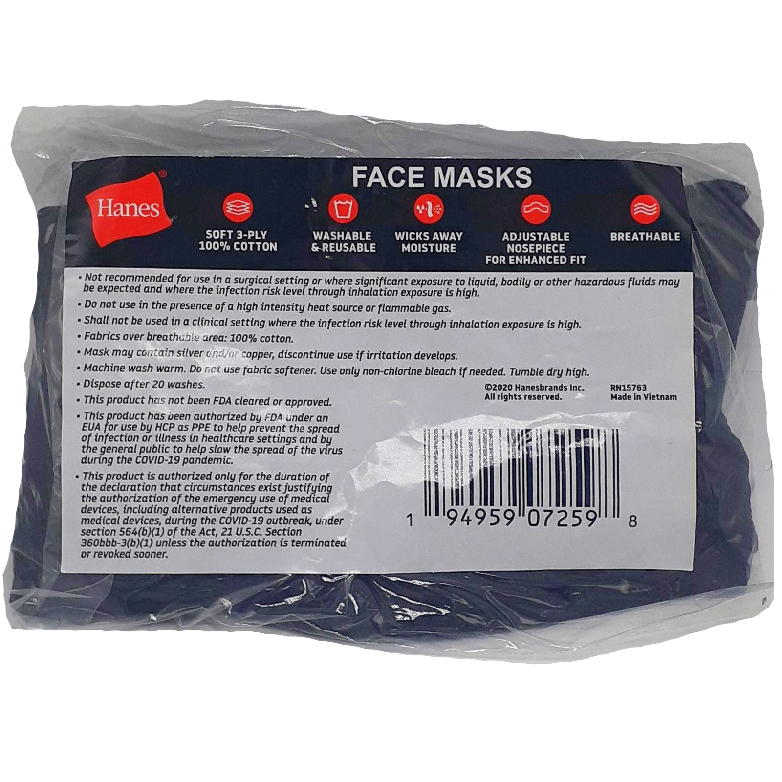 Hanes Reusable Face Mask 5ct thumbnail